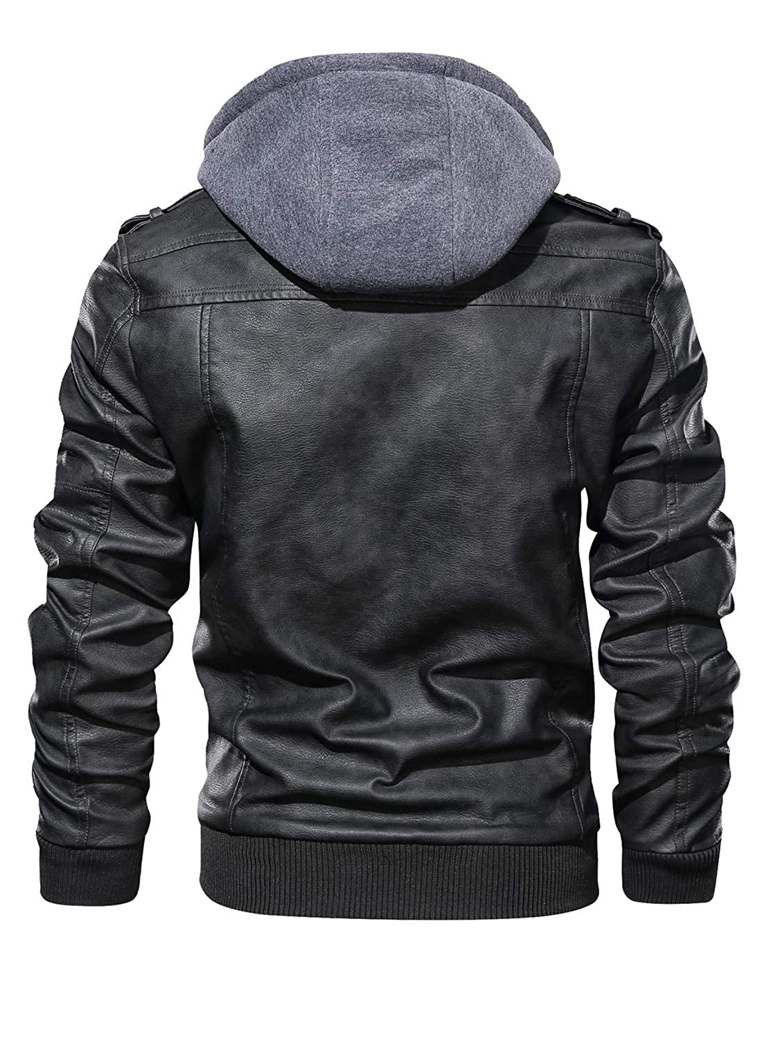 Hood Crew Mens Casual Stand Collar Pu Faux Leather Zip Up Motorcycle Bomber Jacket With A Removable Hood