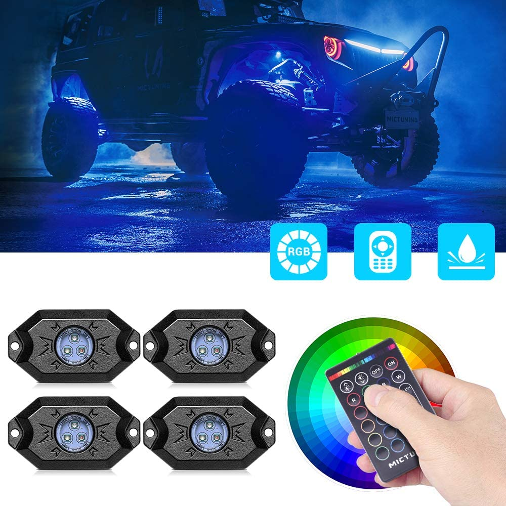 MICTUNING RGB Rock Lights with RF Remote Control Multicolor Neon Underglow LED Lighting Kit 8 Pods