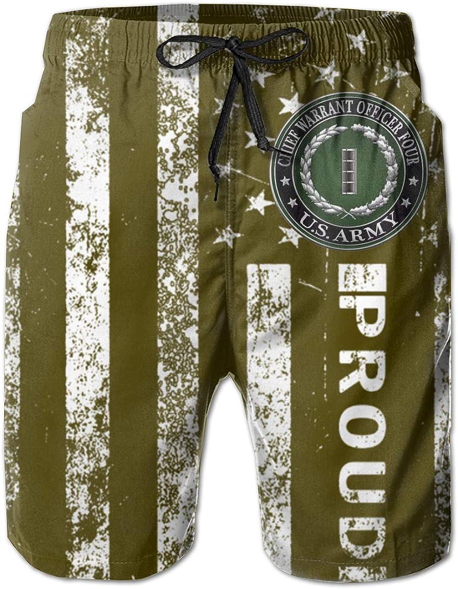 HANINPZ US Army Chief Warrant Officer Four Rank Mens Swim Trunks Beach Short Board Shorts