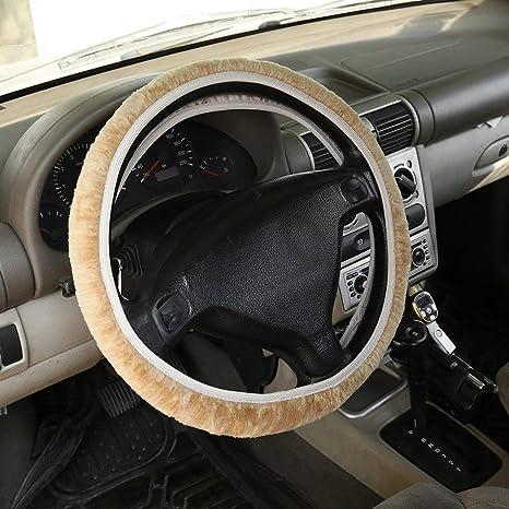 Encantador invierno cálido lana corta volante de felpa cubierta para accesorios de automóviles Volante y bujes del volante: Amazon.es: Coche y moto