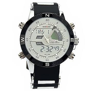 PIXNOR Hora Dual WEIDE WH-1104 impermeable de los hombres deportivos LED Digital reloj de pulsera de cuarzo con fecha cronómetro alarma correa de caucho ...