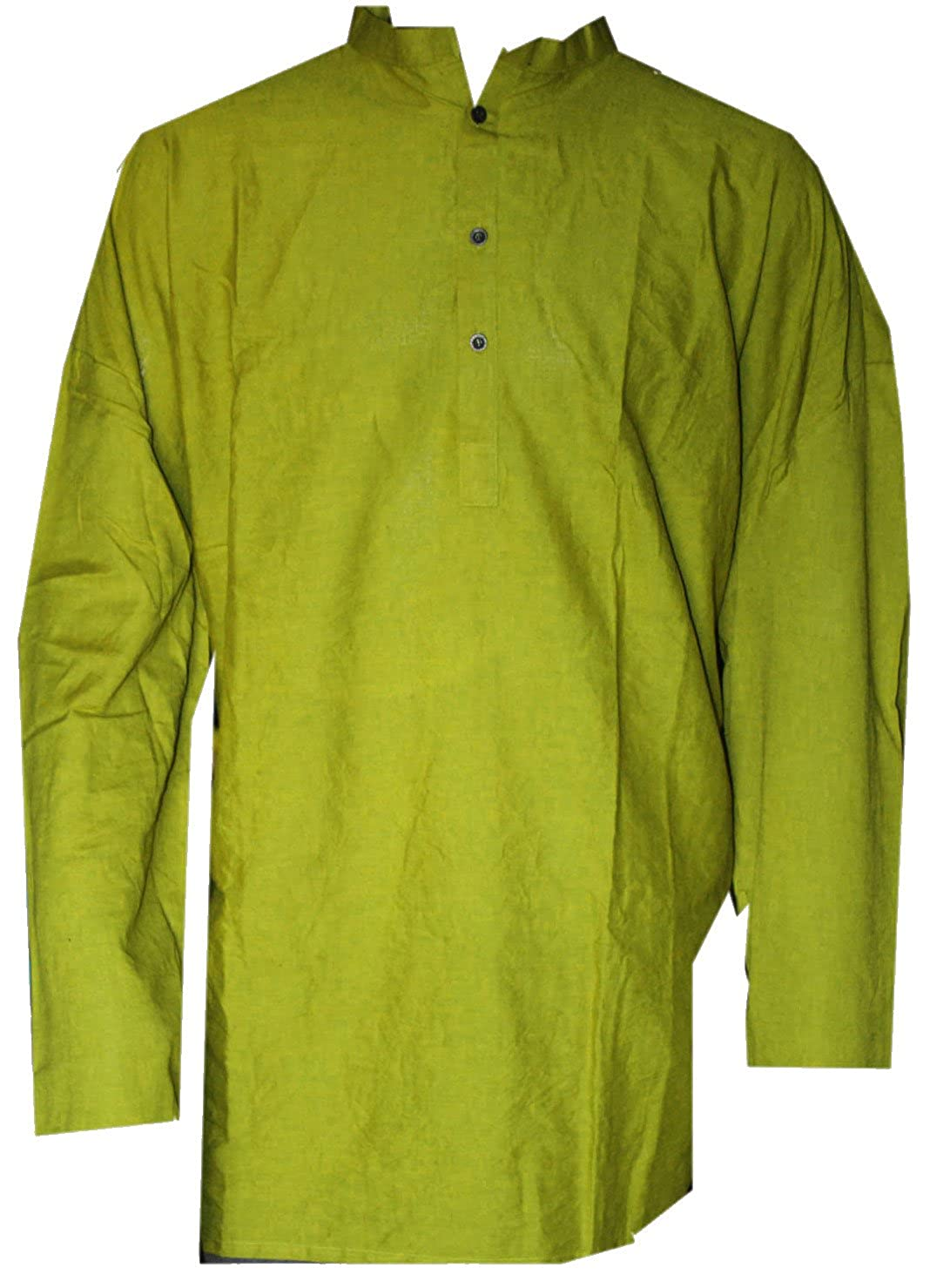 Lakkar Haveli Indian 100/% Cotton Man/'s Shirt Lite Olive Green Color Solid Print Kurta Plus Size Loose fit