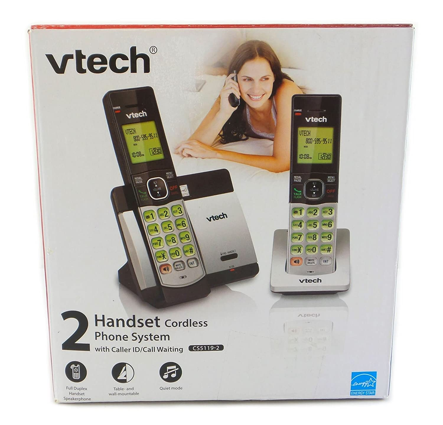 VTech 2 Handset Cordless Phone System with Caller ID and Call Waiting CS5119-2