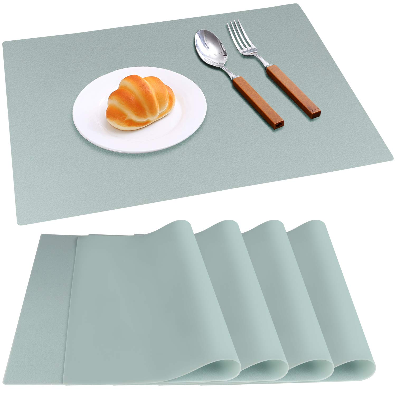 IVYOUNG Large Reusable Silicone Placemats for Dining Kitchen Table Heat-Resistant Baking Mat Countertop Protector, Non-Slip Flexible Washable Dining Mats(Set of 4,Mint Green)