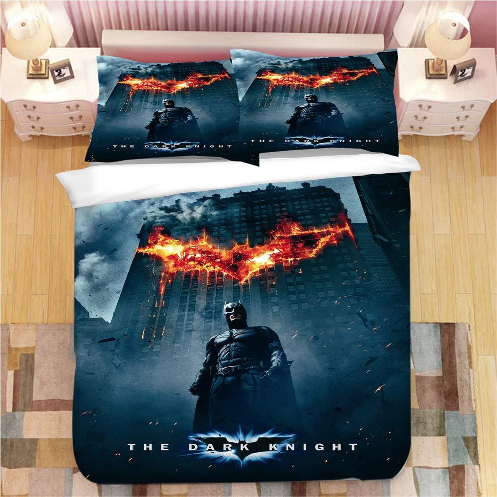 ZI TENG 3D Batman Duvet Cover for Boys Ultra Soft Marvel Heroes Kids Bedding Including 1Duvet Cover,2Pillowcases 100% Polyester Twin Full Queen King Size by ZI TENG
