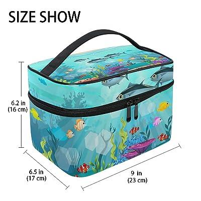 U LIFE Ocean Sea World Fish Life Aquatic Floral Coral Travel Cosmetic Makeup Toiletry Storage Bags Boxes Cases Organizers