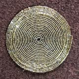 Alvi Qmar Christmas Special Handmade Round Ethenic Wire Beaded Set of 6 Tea Coaster for Dining Table/Tablemat Decorative Home Decorations Size 4 Inch(Gold)