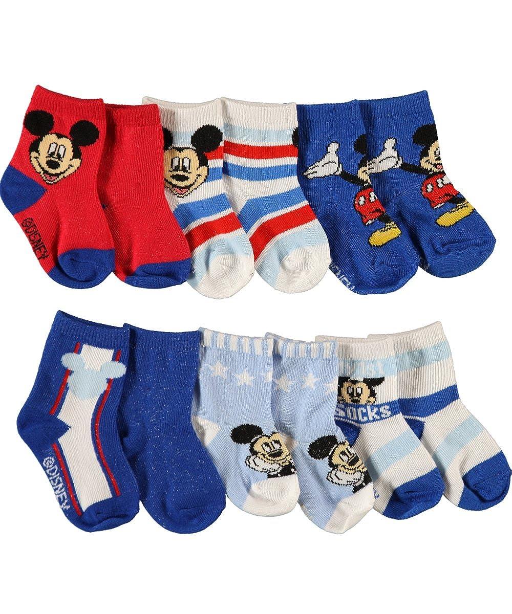 Mickey Mouse 'Stars & Stripes' 6-Pack Crew Socks 6 - 12 months Disney