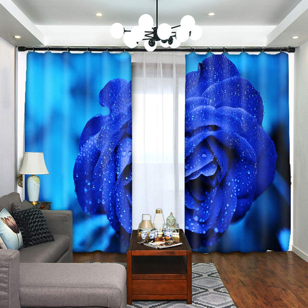ZZHL Curtains Curtains,Hooks Rings Blackout Set Thermal Insulated Window Treatment Solid Eyelet for Bedroom 2 Panels Blue Flower (Size : 1x2.41m) by ZZHL (Image #5)