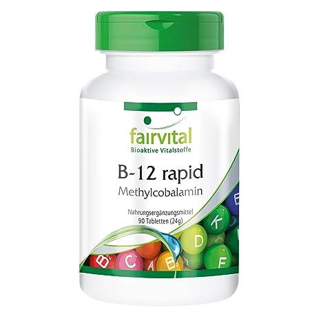 B-12 metilcobalamina - Bote para 3 meses - VEGANO - 90 comprimidos - absorción