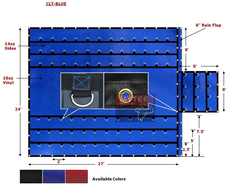 Lightweight 18oz/14oz Lumber Tarp 24x27 (8' Drop) - Blue