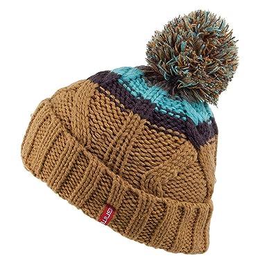 f65937f6932 Ignite Chunky Stripes Pom Bobble Hat - Camel Camel 1-Size  Amazon.co.uk   Clothing