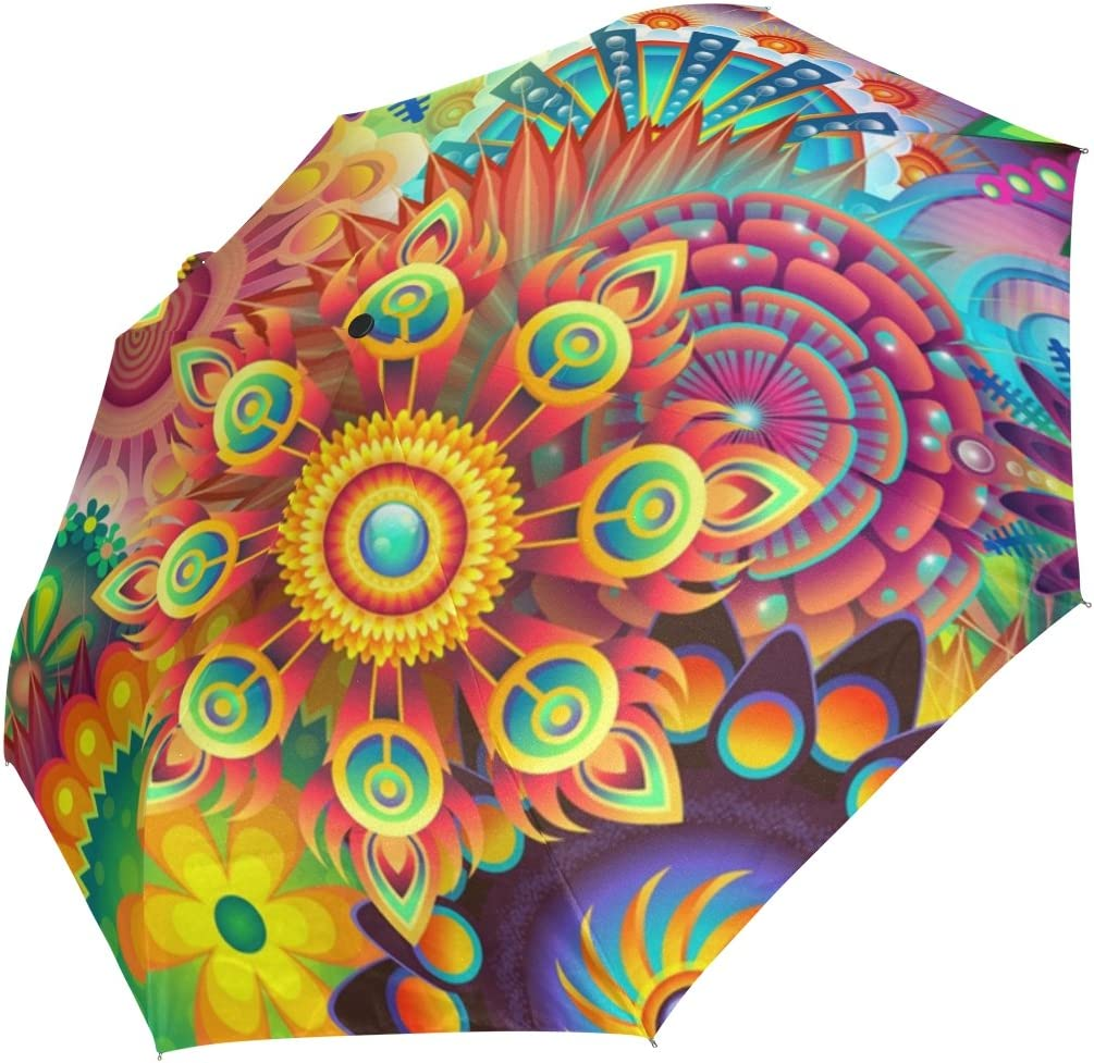 DOENR Compact Travel Umbrella Colorful Pattern Sun and Rain Auto Open Close Umbrellas Lightweight Portable Outdoor Folding Umbrella