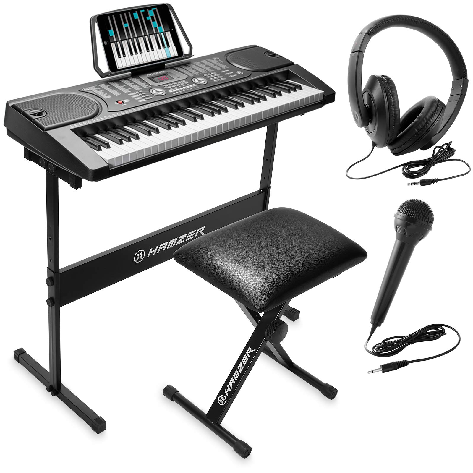 Hamzer 61-Key Portable Electronic Keyboard Piano with Stand, Stool, Headphones, Microphone & Sticker Sheet by Hamzer