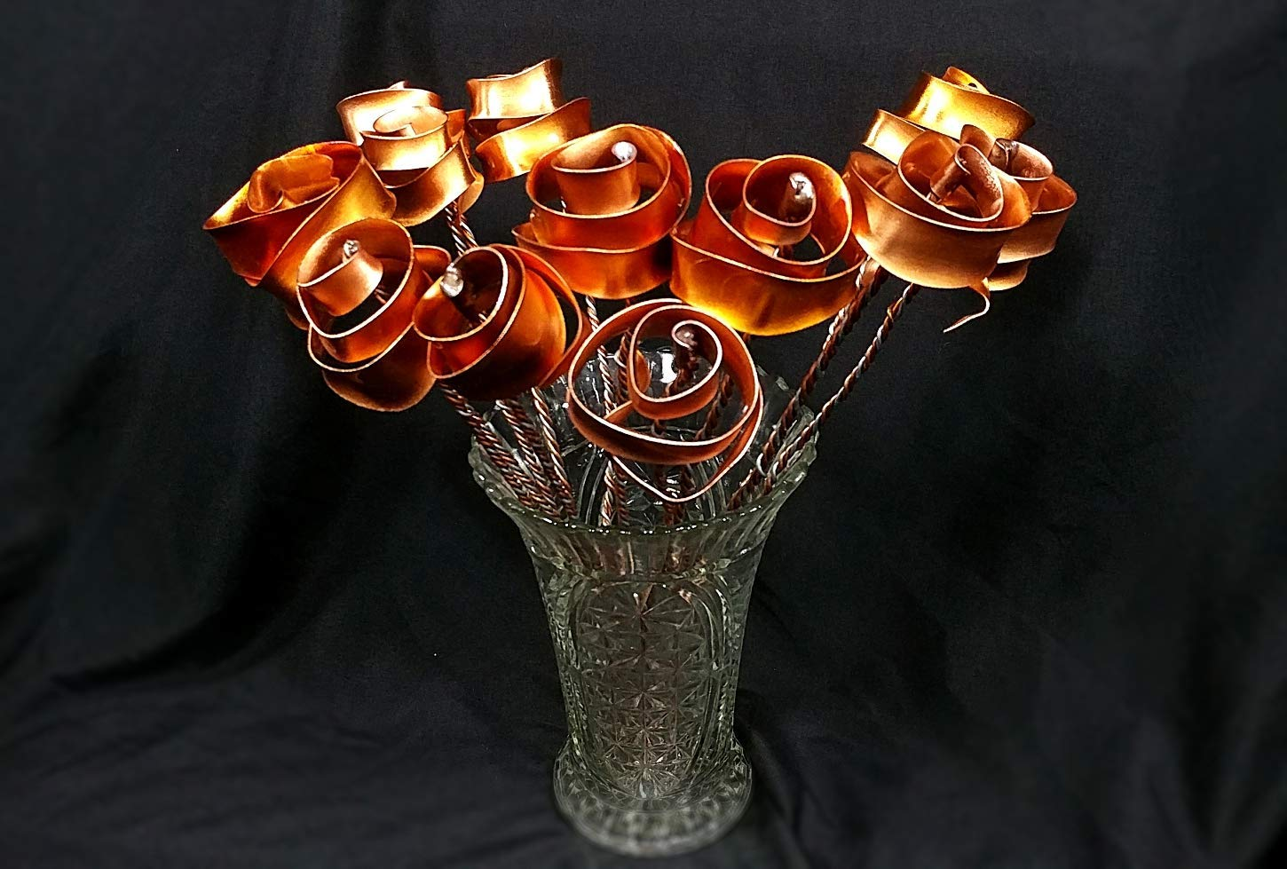 Set of 3 Bright Copper Forever Roses #813'' I Love You'' Steampunk - Wedding Prom Graduation 7th Anniversary Regalo de Aniversario Hanukkah Kwanzaa Valentine's Mother's Day Christmas Gift ! by Refreshing Art (Image #2)