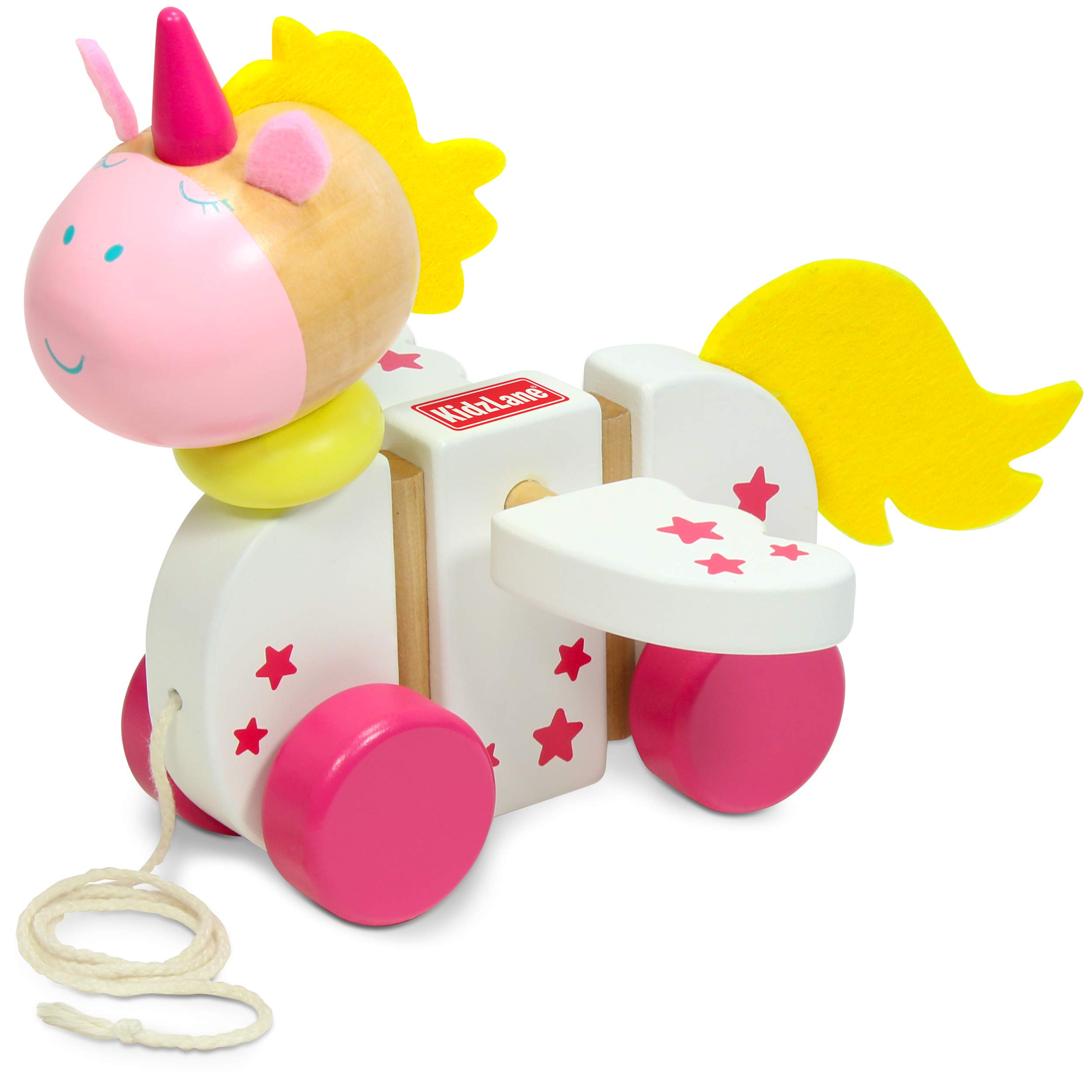 Kidzlane Wooden Unicorn Pull Toy for Toddlers | Easy-Grip Handle