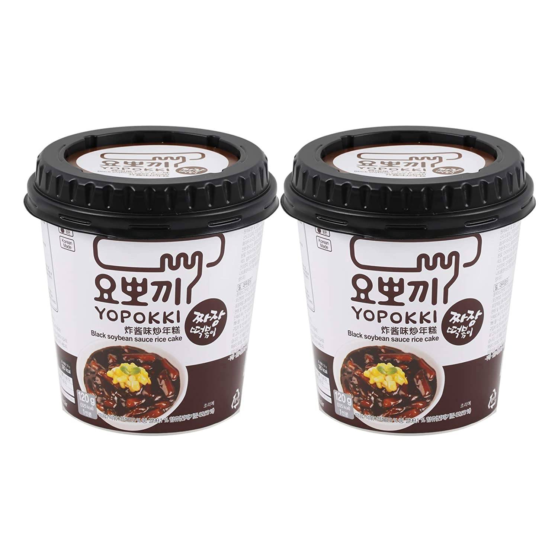 Instant Topokki Rapokki Rice Cake with Ramen Noodles Popular Korean Food Various Flavors 떡볶이 라볶이 (Black Soybean Sauce_Topokki, 120g 2 Cups (2 Servings))