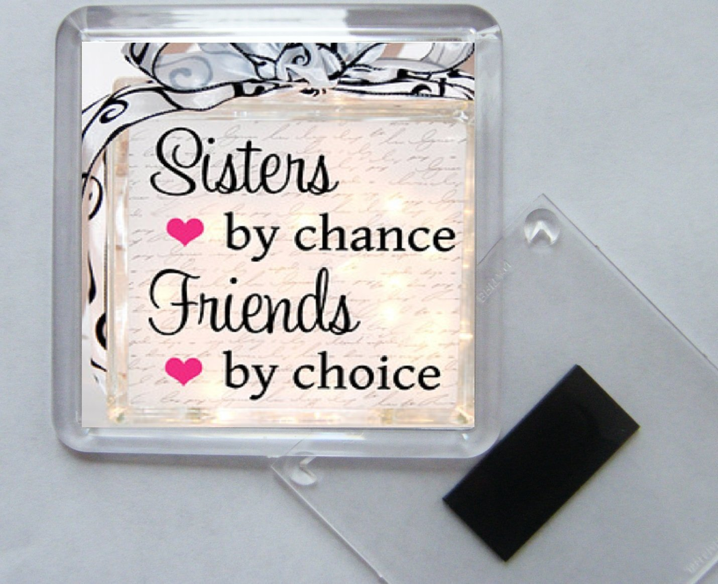 Sisters by chance Friends by choice Square Acrylic Fridge Magnet