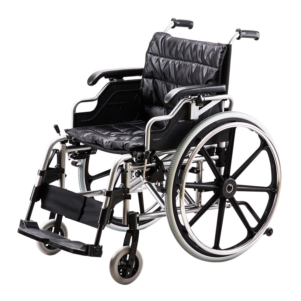 2018 NEW Super Durable Medical Foldable Lightweight Manual Wheelchair,Aluminium Frame,Swing Away Foot Rest, Wide Chair&Ergonomic Design for Extra Comfort.