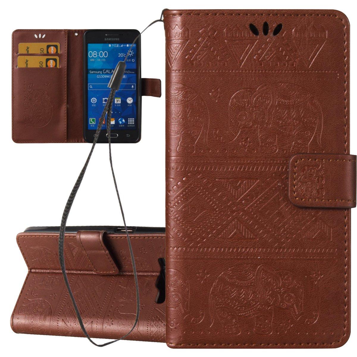 ISAKEN Custodia Cover per Samsung Galaxy Grand Prime G530 Libro Wallet Flip Portafoglio Cover in PU Pelle Tinta Unita Custodia Rose Protezione Caso con Supporto di Stand/Carte Slot, Rose: Blu Scuro FASNO015138
