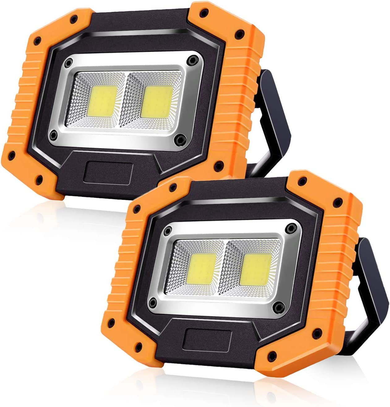 Portable Led Work Lights Sonee Rechargeable Cob Work Light Waterproof Led Flood Light With Stand Built In Power Bank Job Site Light For Indoor Outdoor Lighting Yellow 2pack Amazon Com