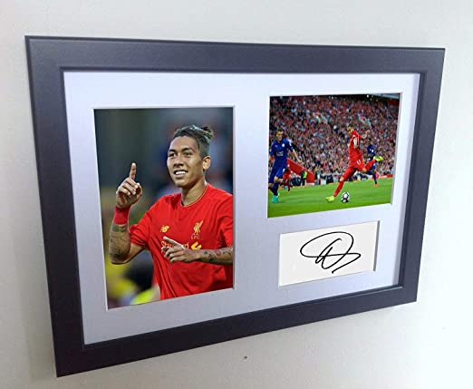 Signed Black Soccer Roberto Firmino Liverpool FC Autographed Photo Photographed Picture Frame A4 12x8 Football Gift