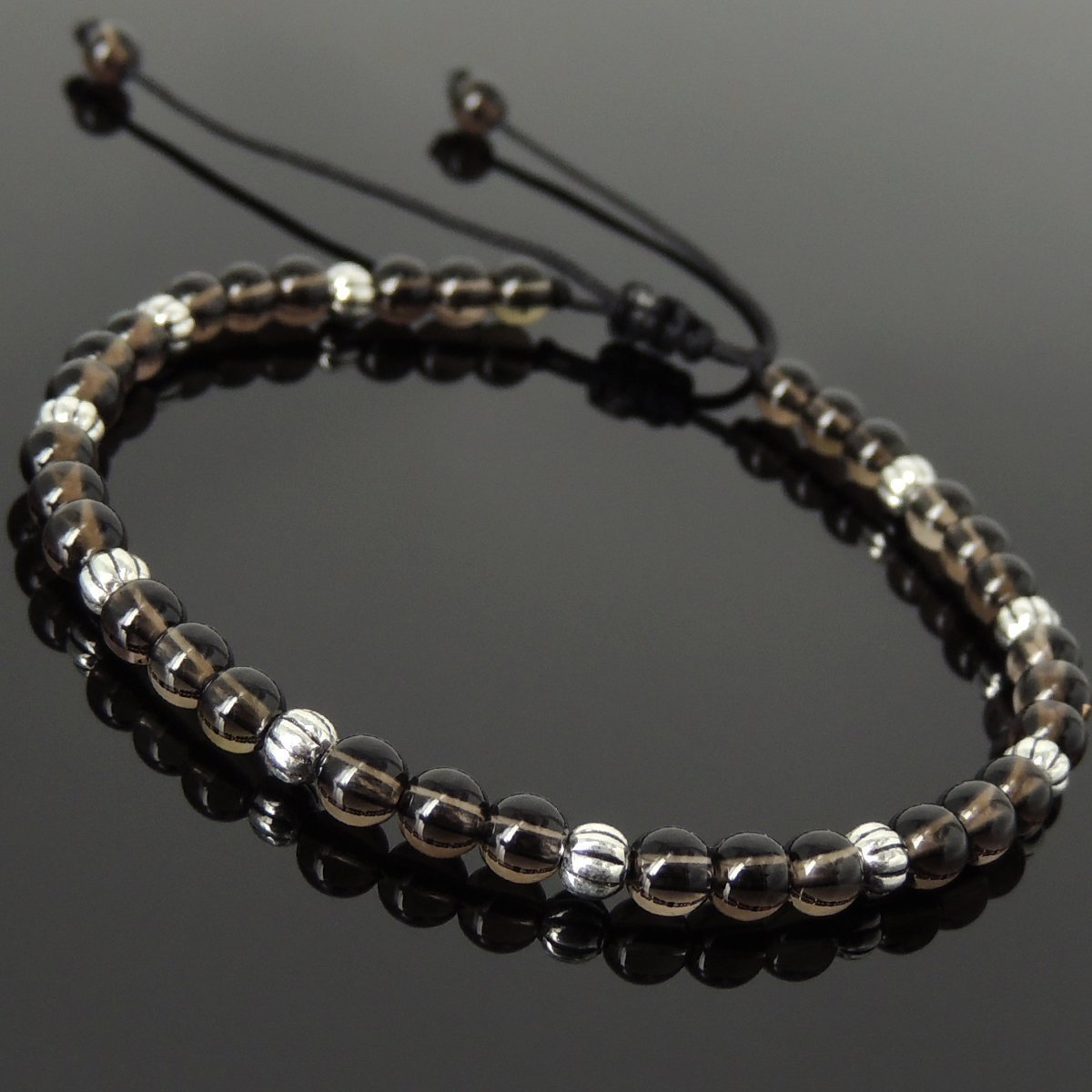 Men and Women Adjustable Braided Drawstring Bracelet Handmade with 4mm Smoky Quartz Small Beads and Genuine 925 Sterling Silver Beads