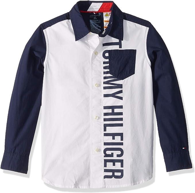 Tommy Hilfiger Niños Manga Larga Camisa de botones - Azul - Medium: Amazon.es: Ropa y accesorios