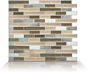 """Smart Tiles Self Adhesive Wall Tiles - Muretto Oro - 12 Sheets of 10.20"""" x 9.10"""" (25.91 cm x 23.11 cm) Kitchen and Bathroom Stick on Tiles - 3D Peel and Stick Backsplash"""