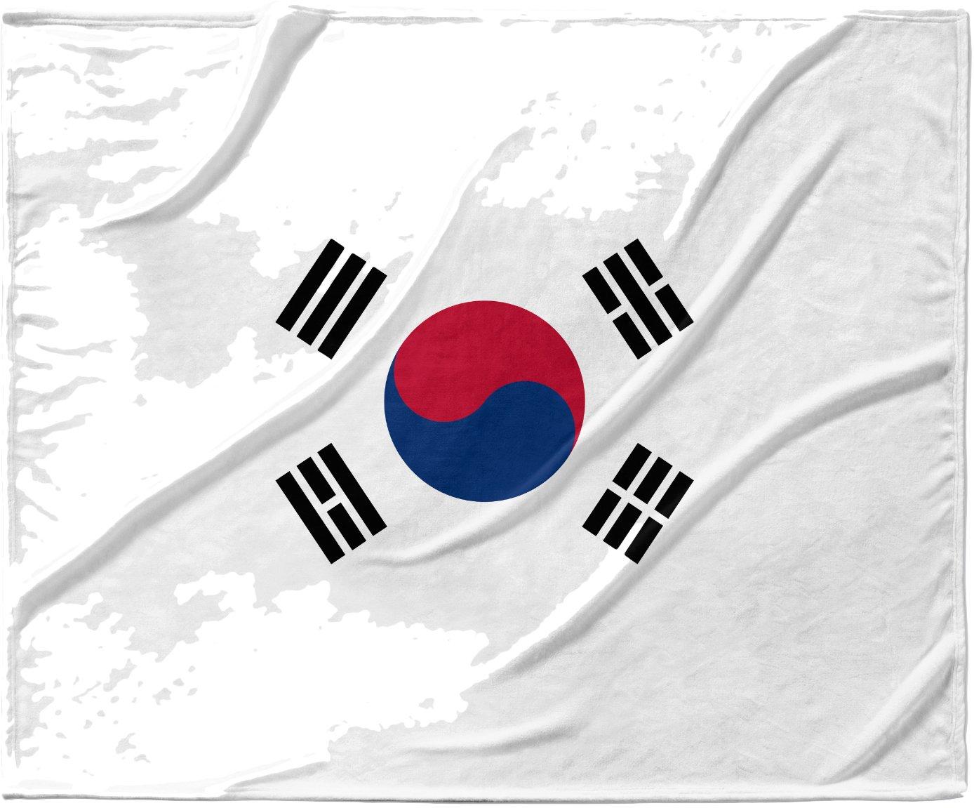 KESS InHouse Bruce Stanfield 'Flag of Korea' White Digital Fleece Baby Blanket, 40' x 30'