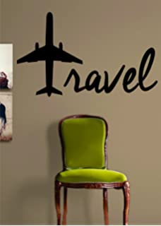 Travel as much as you can vinyl wall art decal sticker amazon travel airplane quote decal wall vinyl art sticker gumiabroncs Image collections
