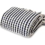 "Navy and White Chain Link Knit Fashion Throw Blanket.  60"" x 50"" by Battilo Inc"