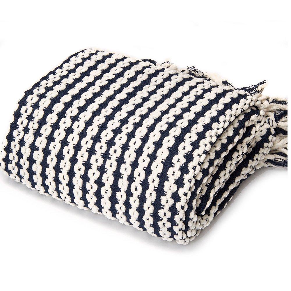 battilo Navy and White Chain Link Knit Fashion Throw Blanket. 60'' x 50'' Inc