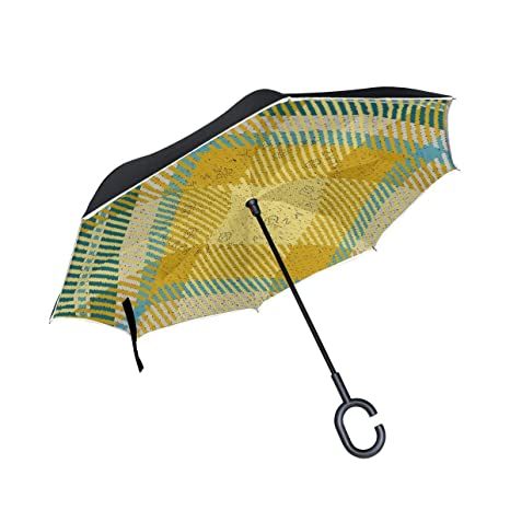 08ede49cc4a70 Amazon.com : Inverted Reverse Umbrella Striped Warm Plaid Windproof ...