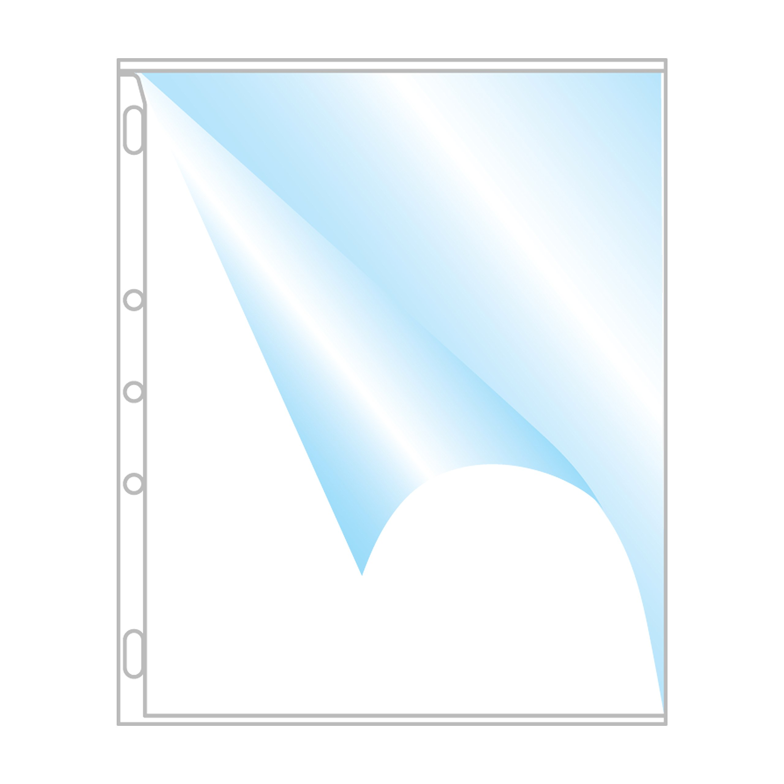 EnvyPak Crystal Clear 5 Hole Punched Heavy Duty 8.5 x 11 Side Load Page/Sheet Protector - Box of 250