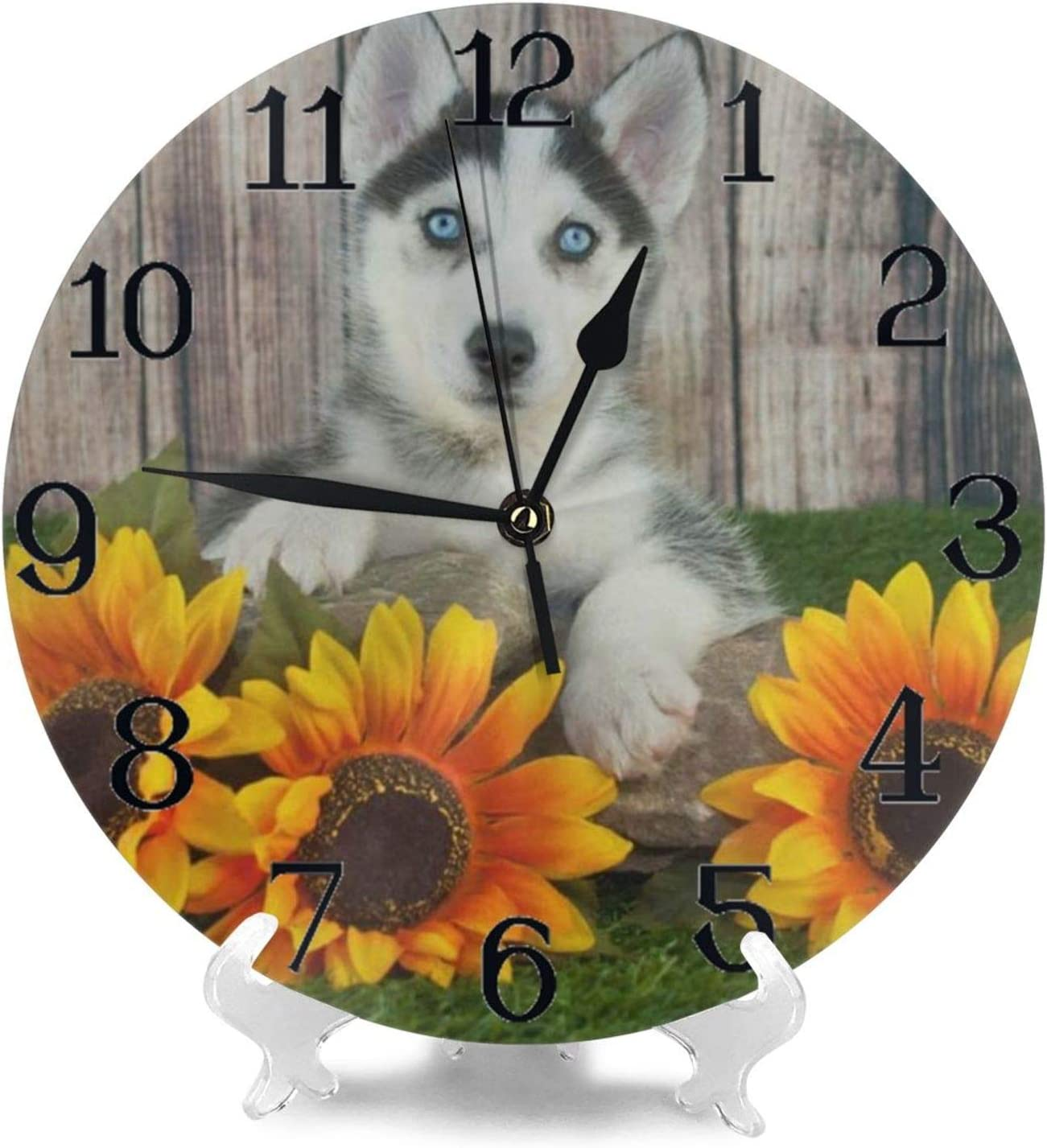 Wall Clock Large Cute Husky Funny Dog and Sunflower Non Ticking Kitchen Bedroom Bathroom Wall Clocks Battery Operated Round Silent Outdoor Office Cool Living Room Decor for Kids Womens