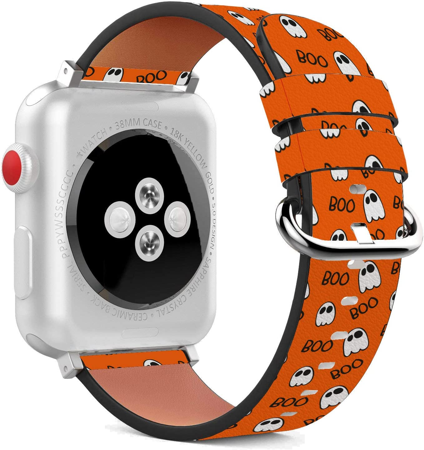Compatible with Apple Watch - 42mm / 44mm (Serie 5,4,3,2,1) Leather Wristband Bracelet with Stainless Steel Clasp and Adapters - Halloween Hand Drawn
