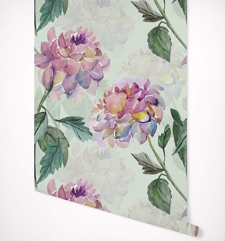 Amazon Com Kraska Peel And Stick Wallpaper Dahlia Flower Floral