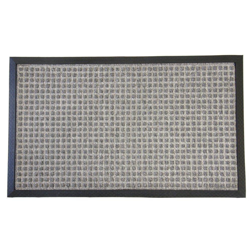 Rubber-Cal Nottingham Rubber Backed Carpet Mats - 16 x 24 inches - Gray Entrance Mat