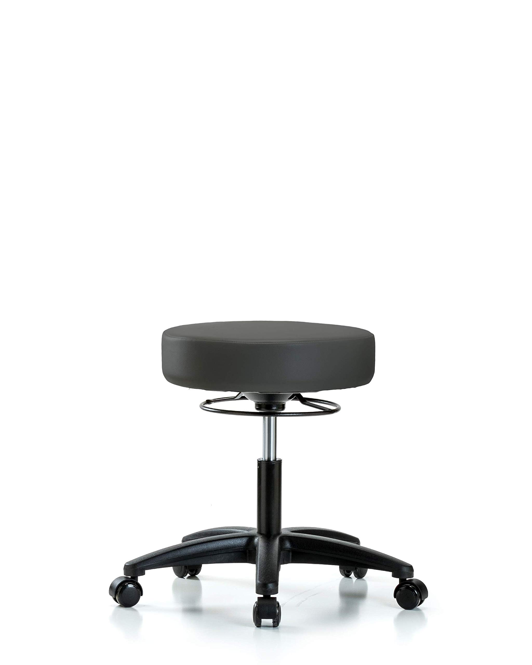 Adjustable Stool for Exam Rooms, Labs, and Dentists with Wheels - Desk Height, Charcoal