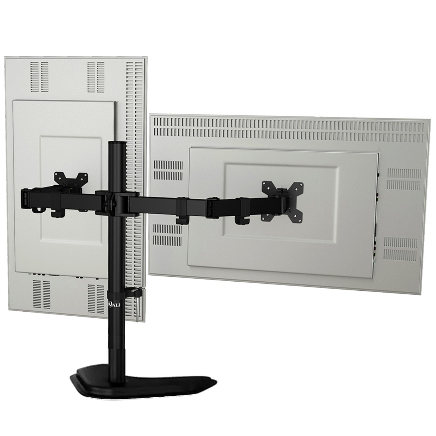 """WALI Free-Standing Dual LCD Monitor Fully Adjustable Desk Mount Fits Two Screens up to 27"""", 22 lbs. Weight Capacity per Arm (MF002), Black by WALI (Image #1)"""
