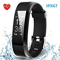 Smart Fitness Band, HolyHigh 115Plus Fitness Tracker Watch with Heart Rate Monitor IPX67 Waterproof Sport Activity Tracker Band with Step Counter Sleep Monitor Call SMS Notifications for Men Women