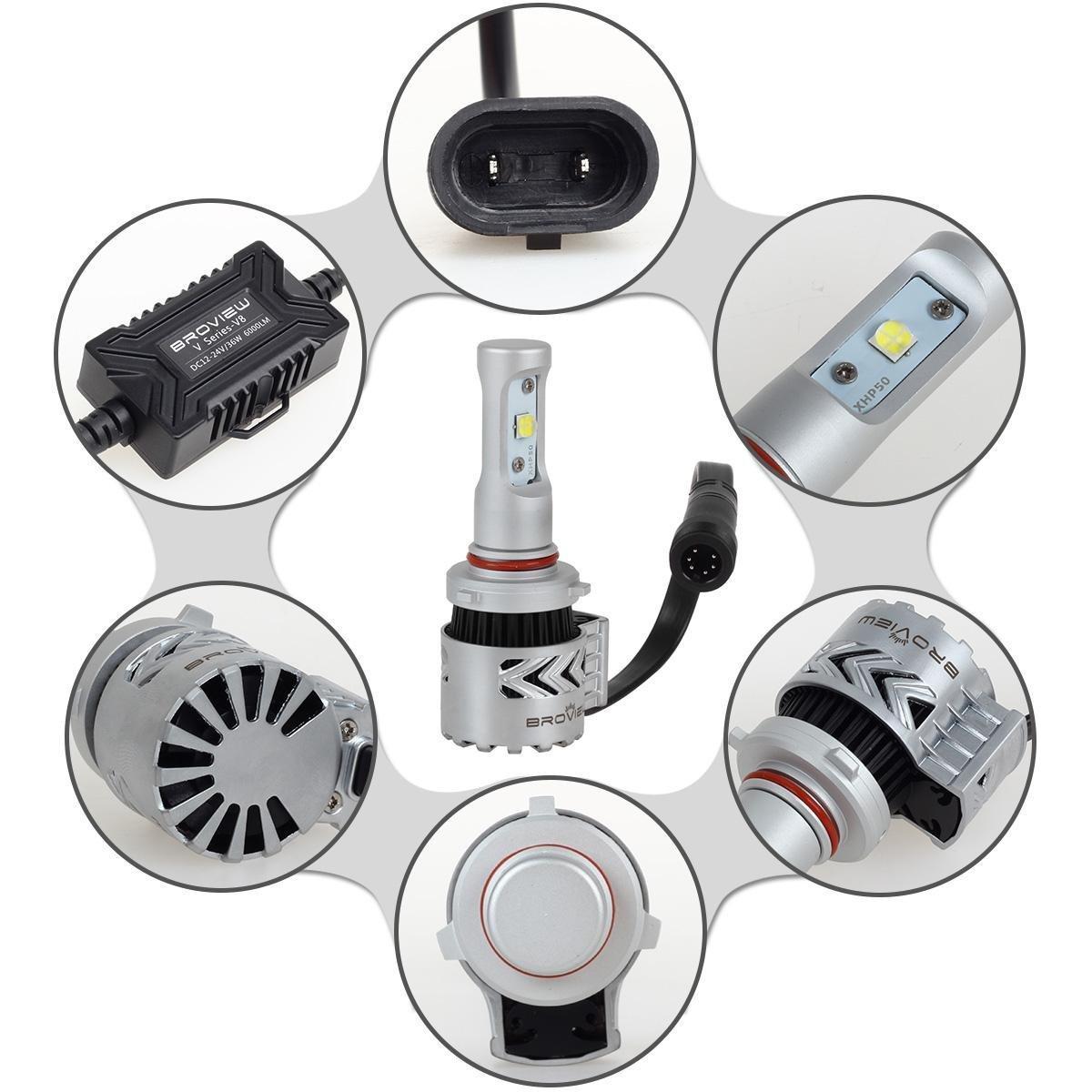 Broview V8 Led 9005hb3h10 Headlight Bulbs 72w 12000lm Suzuki Kizashi Wiring Harness 6500k White Cree Aftermarket Headlights For Replace Hid Xenon 2pcs Set