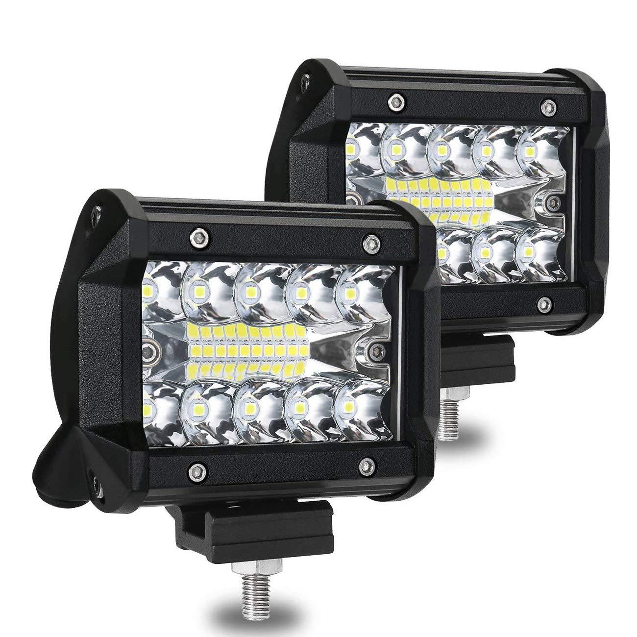 RoFay Led Light Bar, 2-Pack Aluminum Alloy Shell Led Spotlight Off Road Lights, 120W 12000lm Super Bright Flood Driving Fog Light for SUV Jeep Boat Home Road Warehouse