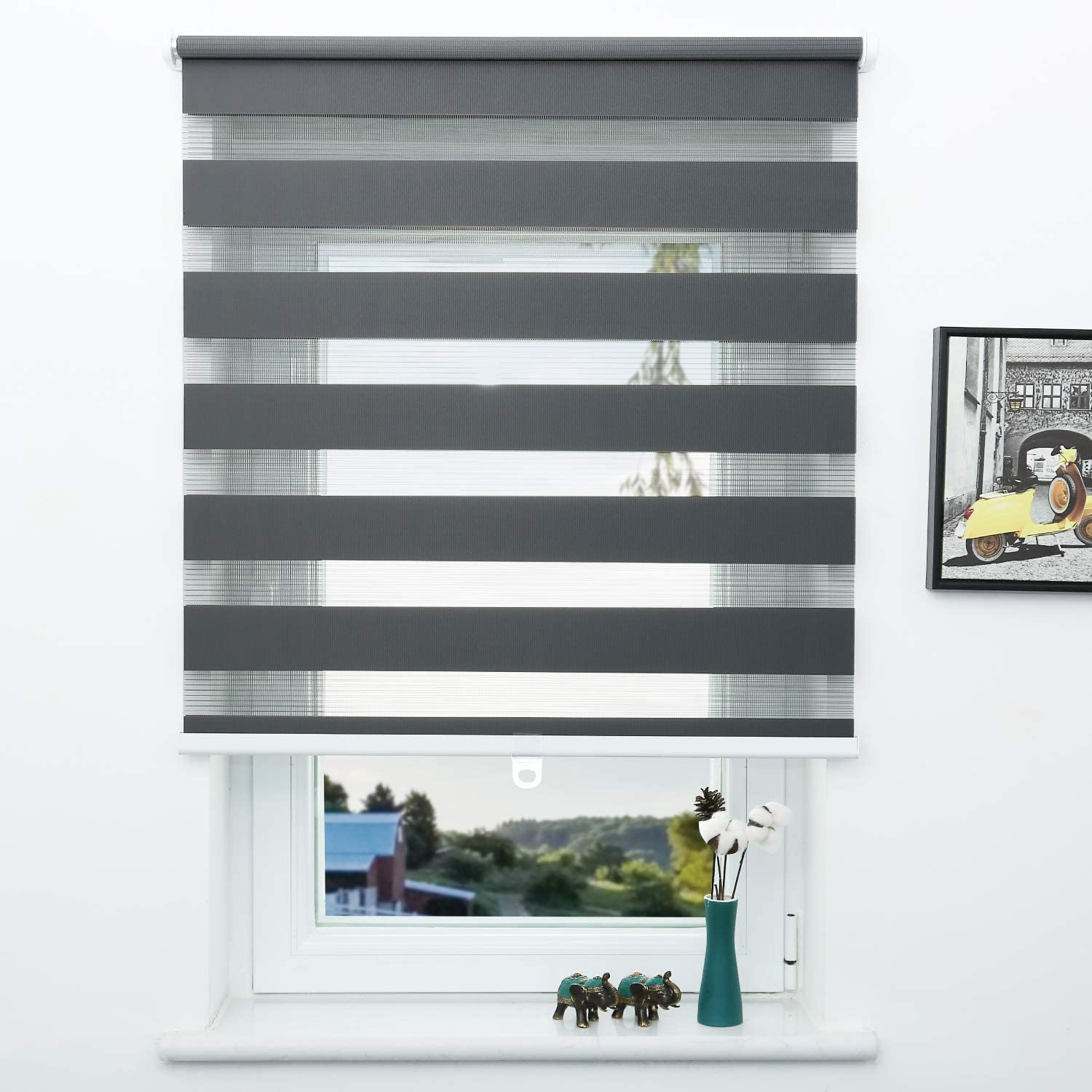 Sunfree Easy Fix Zebra Roller Blind,Day and Night Blinds 95x150, Grey