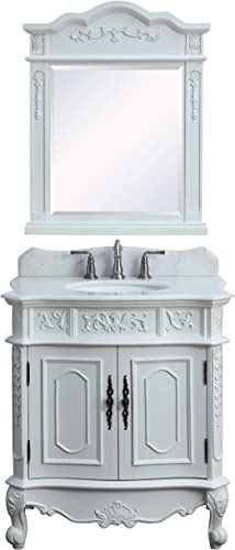 33 Benton Collection Unique Classic Benson Bathroom Sink Vanity Matching Mirror Model HF021W-AW-33