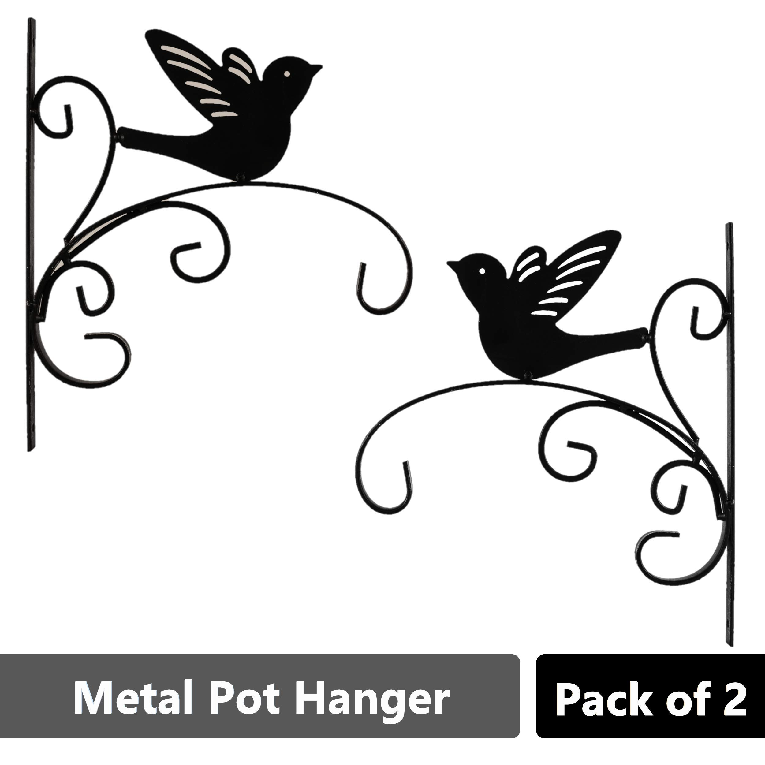 Sharpex Wall Bracket Hanger for Garden Pots, Hanging Flower Pots, Flower Shape Bird Shape Bracket Hanger - Black (Set of 2) product image
