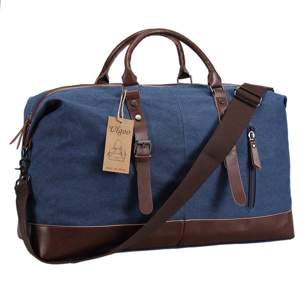Ulgoo Weekend Bag Overnight PU Leather Travel Duffel Bag Canvas Bag (Grey) UL-10091
