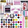 Warm Girl Full 42 Acrylic Powder 120ml Liquid Nail Form Glitter File Glue Brush Rhinestone Clipper French Tips Nail Art Set Starter Kit