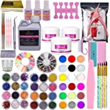 Warm Girl Full 42 Acrylic Powder 120ml Liquid Nail Form Glitter File Glue Brush Rhinestone Clipper French Tips Nail Art Set Starter Kit
